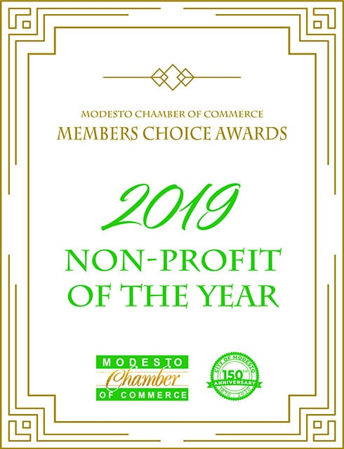 A certificate from the Modesto Chamber of Commerce, naming VIPS the 2019 Non-Profit of the Year.